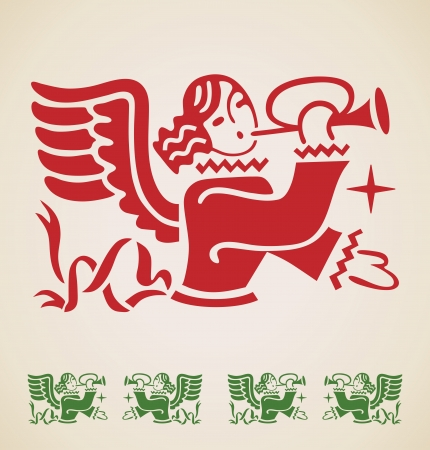 Christmas Angel, vector vintage design element Vector