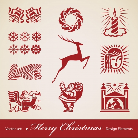 Christmas decoration set,  retro design elements Vector