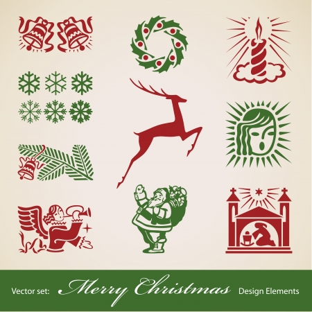 Christmas decoration set, vector retro design elements Vector