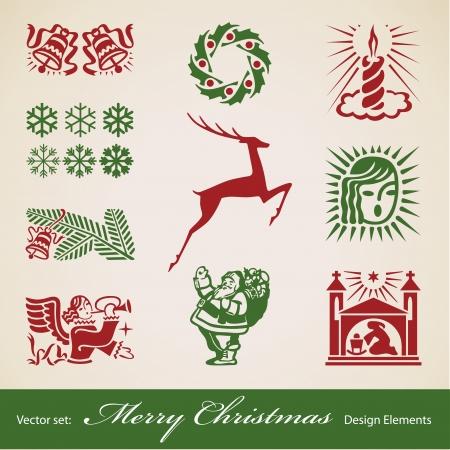 Christmas decoration set, vector retro design elements Illustration