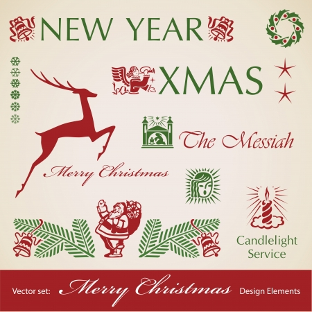 Christmas decoration retro set,  design elements  イラスト・ベクター素材