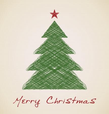 Christmas sketch fir tree,  vector retro design Vector