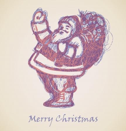 scrawl: Babbo Natale Sketch, elemento di design di Natale Vettoriali