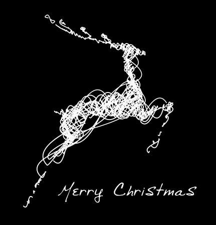 Hand drawn jump deer, Christmas design element  Vector