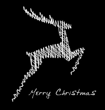 Hand drawn jump deer, Christmas design element Stock Vector - 15339570