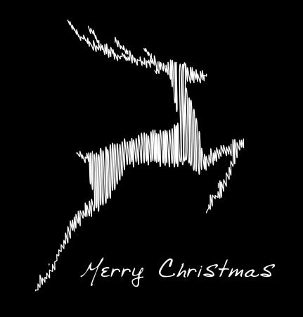 Hand drawn jump deer, Christmas design element Stock Vector - 15339571