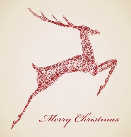 Hand drawn jump deer, Christmas design element