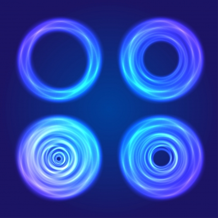 Set of blue glow circular  shapes Vector
