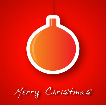 Christmas orange ball applique background Vector