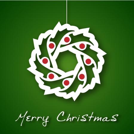 Christmas garland applique on green background Stock Vector - 16176426