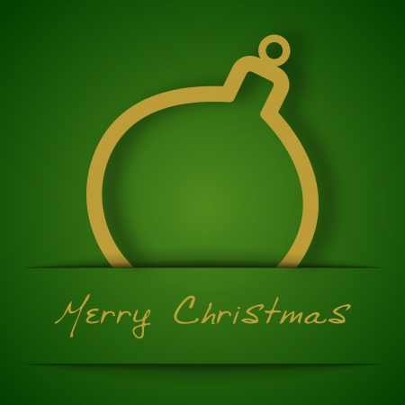 Christmas gold ball applique on green background Vector