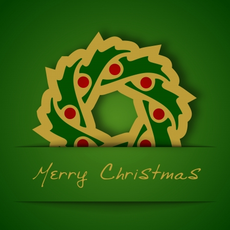 Christmas gold garland applique on green background Vector