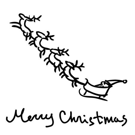 Santa s sleigh sketch, vector illustration