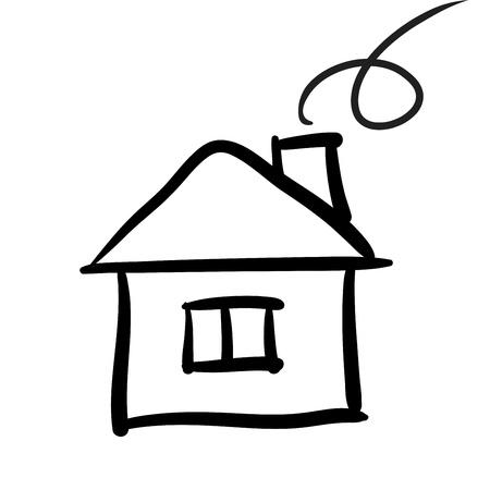icone maison: Maison croquis, illustration vectorielle Illustration