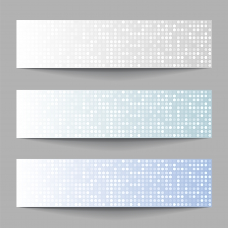 Set of Technology pixel banners, vector illustration Vector