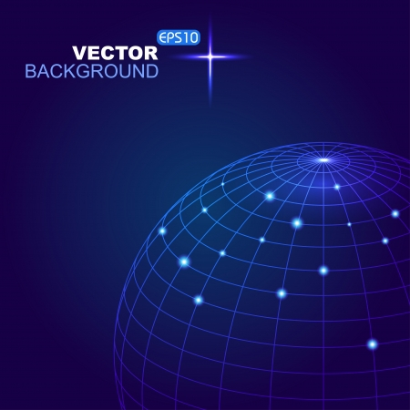 Abstract 3d sphere with blue lines  and  white dots ,  illustration Vector