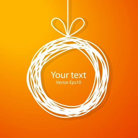 christmas trees: Christmas sketch frame on orange background