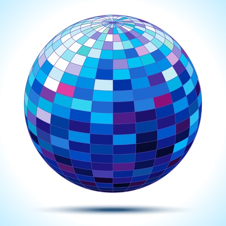 discoball: abstract 3d blue sphere,  illustration