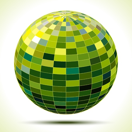 discoball: abstract 3d green sphere, illustration