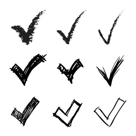 tick mark: Conjunto de signos dibujados a mano V, ilustraci�n Vectores