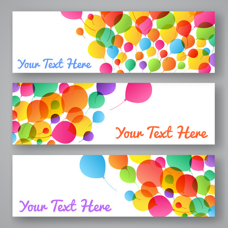 red balloons: Set of colorful balloons banners