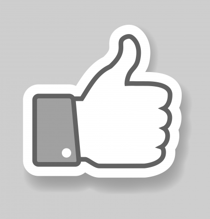 Gray Thumb Up paper effect, web icon Vector