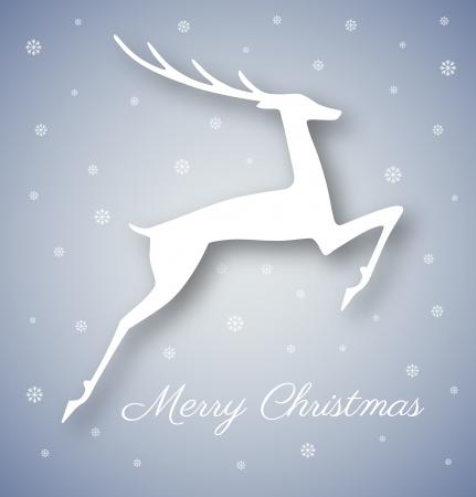 White Christmas deer on gray - blue background Stock Vector - 24117765