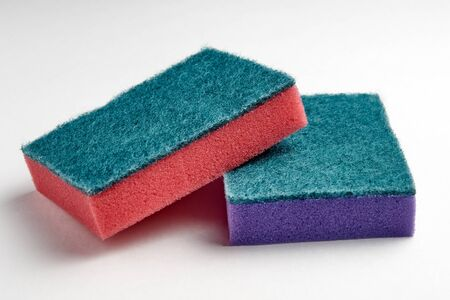 Multi-colored sponges for washing dishes close-up