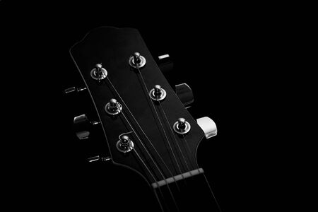 Acoustic guitar on black background Stok Fotoğraf
