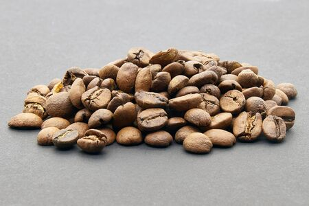 coffee beans on gray background