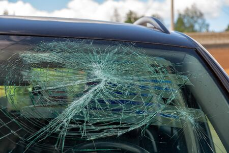 broken car windshield. consequences of a traffic accident Stok Fotoğraf