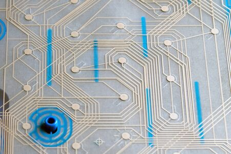 Keyboard circuit membrane, blue toned, close up