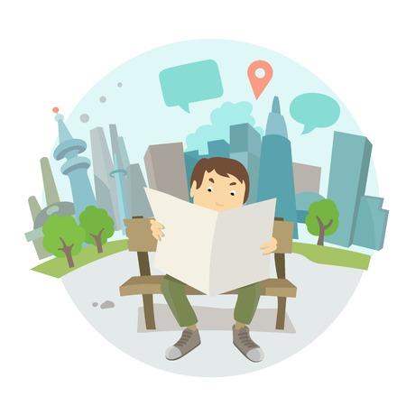 banco parque: Un hombre leyendo un peri�dico en un banco del parque.
