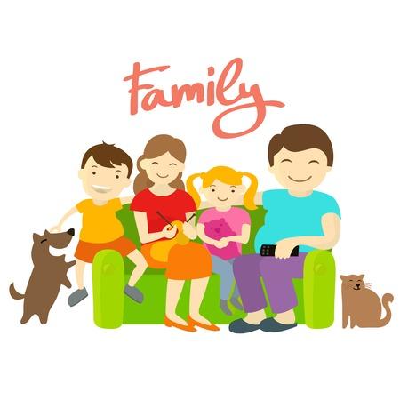 perro familia: Familia en el sofá. Hija de madre padre hijo perro gato