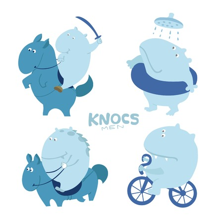 troll: Cute character troll, hippo in different poses and actions Illustration