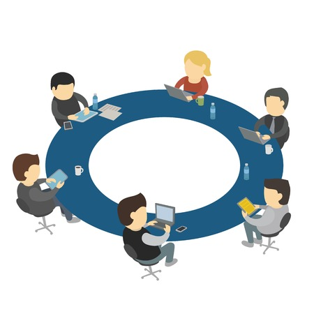 round: Six cartoon people work sitting round table. Teamwork office