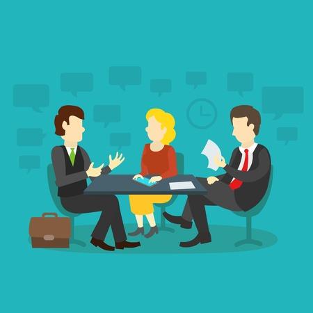 entrevista: tres personas en la mesa de entrevista de trabajo