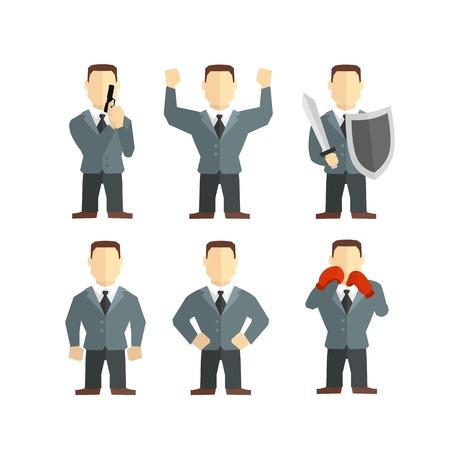 mighty: Security men, strongman defender mighty office worker in tie