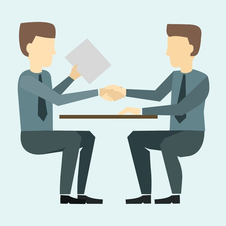 negotiate: Two businessmen shaking hands and negotiate partnership