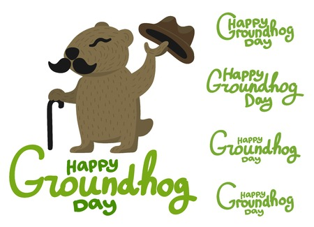 Lettering for Groundhog Day. Groundhog with a mustache and hat Illustration
