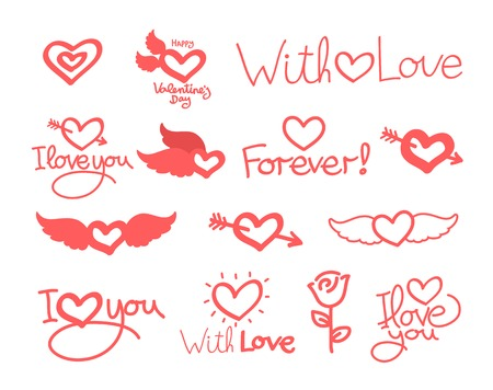 lettering day happy valentine, hearts for card text set Vector