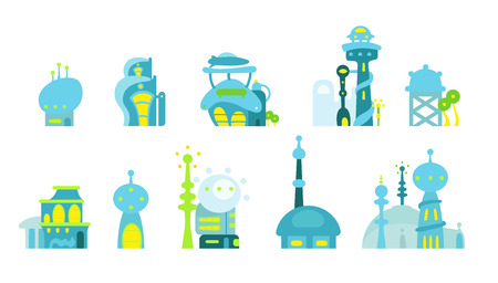 City fantastic cartoon modern building town
