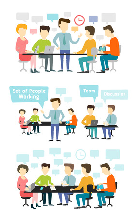 People talking and working at the computers in the office. Business meeting. Shared working environment.