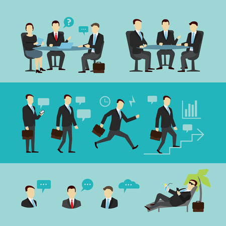job interview: Teamwork. Concept of Group of People. Vector flat. Team work partnership leadership connection organizational structure