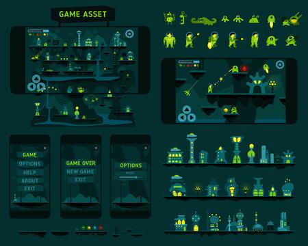 shooter: Fantastic adventures another planet game asset Illustration