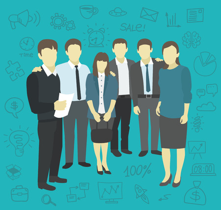 Friends work The company staff men and women Illustration