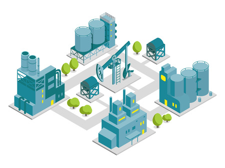 Set of isometric factory illustration oil production building industry