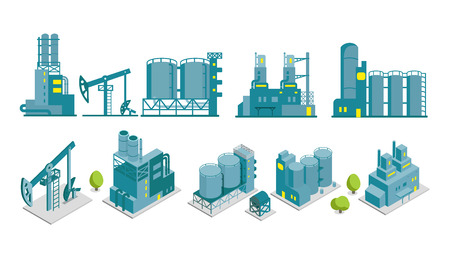 industrial buildings factory: Set of isometric end 2D flat factory illustration oil production building industry