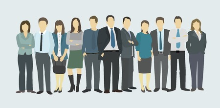Business group. Het personeel van het bedrijf. Mensen in uniform Stock Illustratie