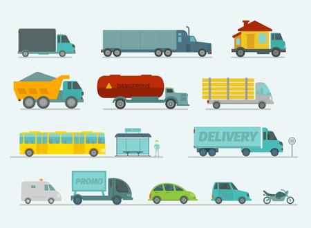 transportes: Conjunto de transporte. Camiones terminan coches de autobuses, turismos. Ilustración vectorial